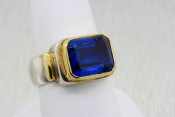 Silver and 18k Imitation Sapphire Ring