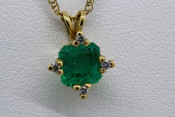 14k Emerald and Diamond Accented Pendant