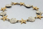 14k Two Toned Starfish and Sand Dollar Bracelet