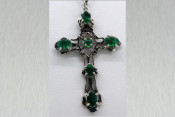 14k White Gold Filigree Cross with Emeralds
