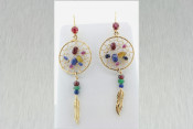 14k Gemstone Dream Catcher Earrings