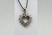 14k Open Heart Pendant with 0.21ct TW