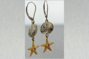 14k Two Toned Starfish and Sand Dollar Earrings
