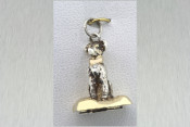 Silver and Gold Retriever Pendant with 0.005ct Diamond